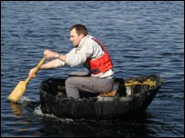 Teàrlach Quinnell in his coracle (Photo courtesy Stefan Brown)