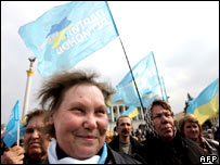 Supporters of Mr Yanukovych in Kiev