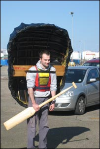 Carrying the coracle (Pic: Robin Brown)