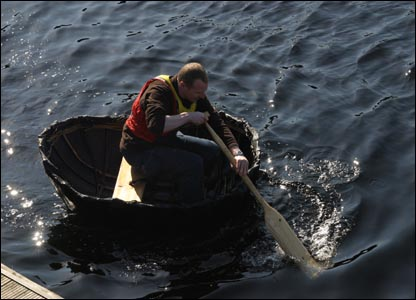 Paddling the coracle on the River Ness (Pic: Stefan Brown)