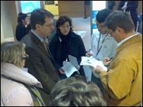 journalists talking to EU spokesman