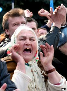Yanukovych supporters shout outside the parliament building in Kiev.