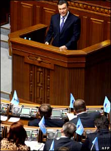 Yanukovych addresses parliament at an emergency session on 3 April.