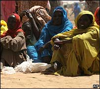 People at a Darfur camp