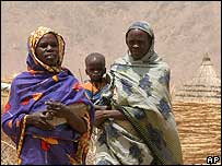 Displaced women and children at a camp in eastern Chad