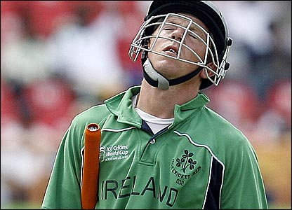 Niall O'Brien reacts to his dismissal in Guyana