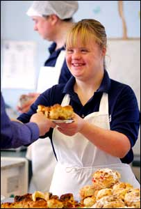 Louise Gregg, former pupil at Tor Bank Special Needs School, at work in Daisies Cafe