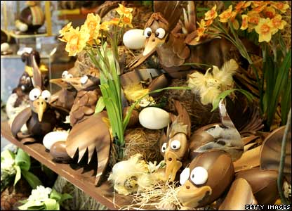 Chocolate items make up an Easter display at the traditional chocolate store Burie in Antwerp, Belgium .