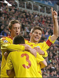 Crouch (left) and Gerrard (right) were both set up by Finnan (centre)