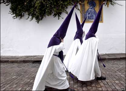 Penitents of La Sangre are seen before participating in a Holy Week procession in Cordoba, southern Spain.