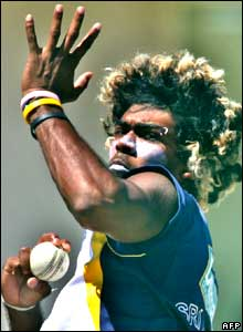 Sri Lankan pace bowler Lasith Malinga delivers a ball during a practice session at the Sir Vivian Richards Stadium in St. John's.