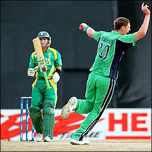 Boyd Rankin (right) celebrates dismissing Herschelle Gibbs (left)