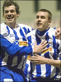 Gordon Greer and Colin Nish celebrate Kilmarnock's winner