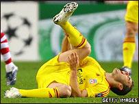 Fabio Aurelio sufre el dolor de la lesi�n en su tal�n de Aquiles.