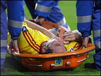 Fabio Aurelio ruptured his Achilles tendon against PSV
