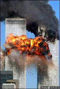 The World Trade Center under attack on 11 September 2001