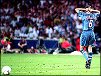 Gareth Southgate after missing penalty in Euro 96