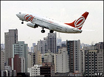 Gol plane taking off from Sao Paulo's Congonhas airport