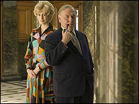 Gina McKee as Marcia Williams and Kenneth Cranham as Harold Wilson