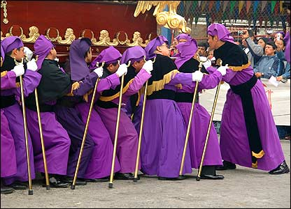Procesión de Domingo de Ramos en San José en Guatemala