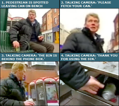 BBC reporter Tom Heap is told off by the talking camera