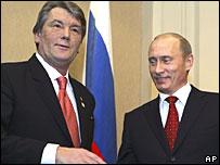 Виктор Ющенко и Владимир Путин в Москве