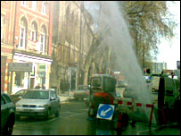 Water pipe burst in Bristol - image courtesy Craig Dolwin