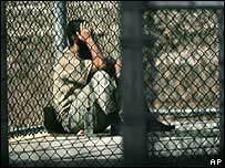 A detainee at Guantanamo Bay