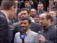 Iranian President Mahmoud Ahmadinejad with the British crew