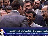 Iranian president meets British crew