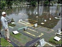 Flooded graveyard in Jakarta