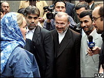 British navy sailor Faye Turney (left) meets Iranian President Mahmoud Ahmadinejad after he announced her release