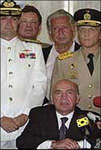 Carmona Estanga y militares venezolanos