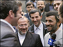 President Ahmadinejad meets the British servicemen
