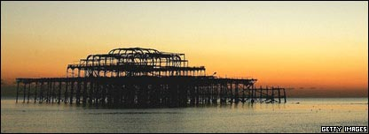 The skeleton of Brighton's gutted West Pier