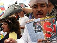 Manifestaciones en Ecuador a favor del referéndum