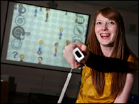Emily Flynn-Jones playing the Nintendo Wii