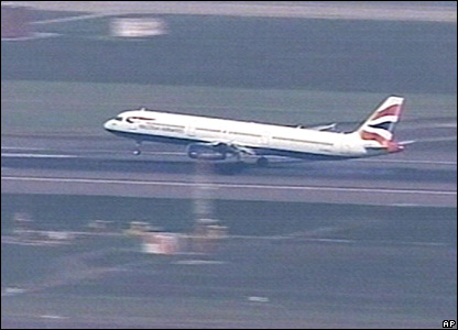 British Airways jet carrying the crew to Heathrow