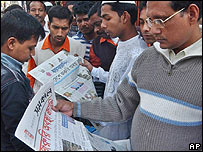 Bangladeshis in January reading about the state of emergency