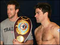 Enzo Maccarinelli with Blue Peter presenter Gethin Jones