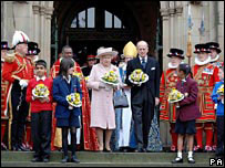 The Queen and the Duke of Edinburgh leaving Manchester Cathedral