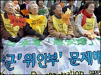 Former South Korean comfort women protest at an anti-Japanese rally in Seoul on 14 March 2007
