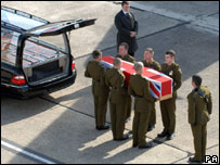 The body of Rifleman Aaron Lincoln, 18, arrives at RAF Lyneham