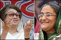 Khaleda Zia (l) and arch-rival Sheikh Hasina