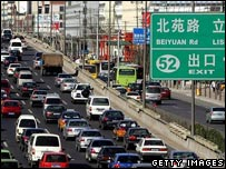Traffic jam on a motorway in China