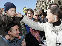 Segolene Royal campaigning in Marseille