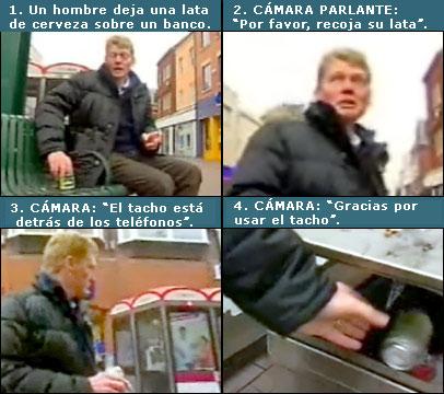 Secuencia del hombre que iba a dejar una lata de cerveza en un banco