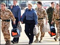 Captured crew arriving in the UK