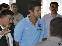 Captain Rahul Dravid arrives for the meeting