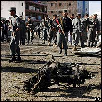Wreckage from Friday's Kabul suicide attack